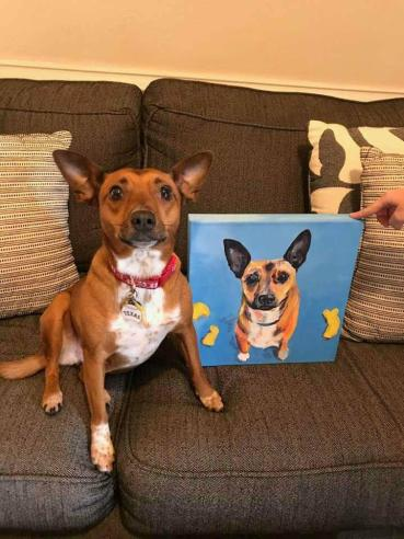 Dog w pic of dog 12-2017