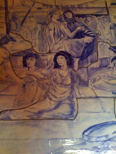 hand cut tile mural