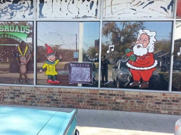 windows - karyoke santa at crossroads, denton