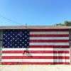 flag mural, faded blue,denton
